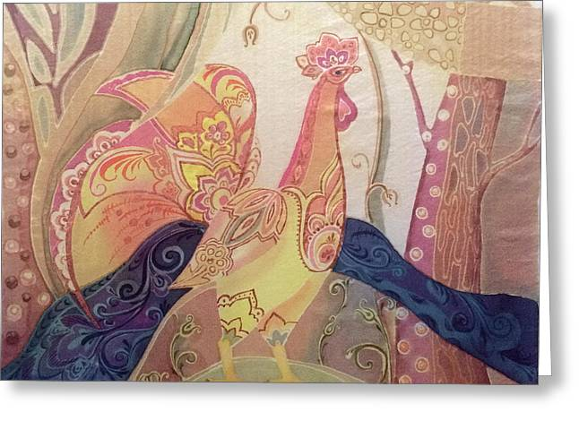 Rustic Tapestries - Textiles Greeting Cards - Country Morning Greeting Card by Natalya Zaytseva