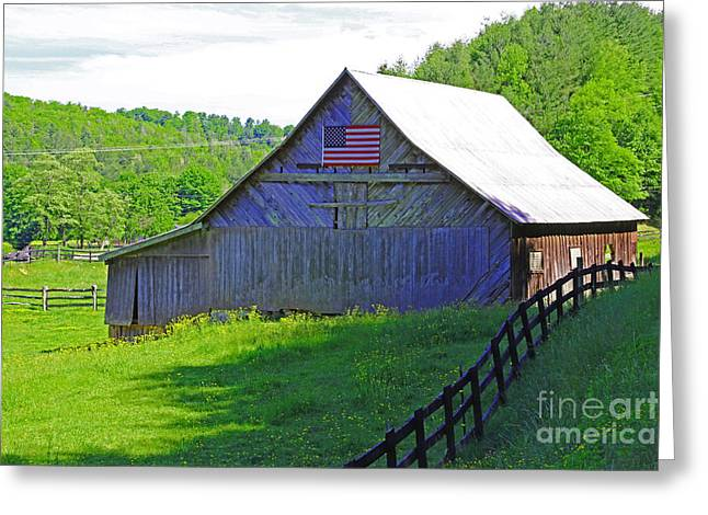 Painted Barn Quilt Greeting Cards - Country Proud Greeting Card by Marty Fancy