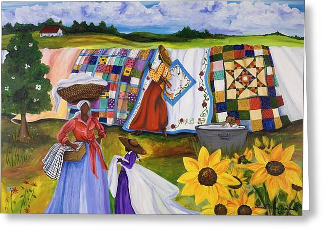 Great Paintings Greeting Cards - Country Quilts Greeting Card by Diane Britton Dunham