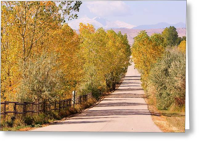 Lightning Gifts Greeting Cards - Country Road Autumn Fall Foliage View of the Twin Peaks Greeting Card by James BO  Insogna
