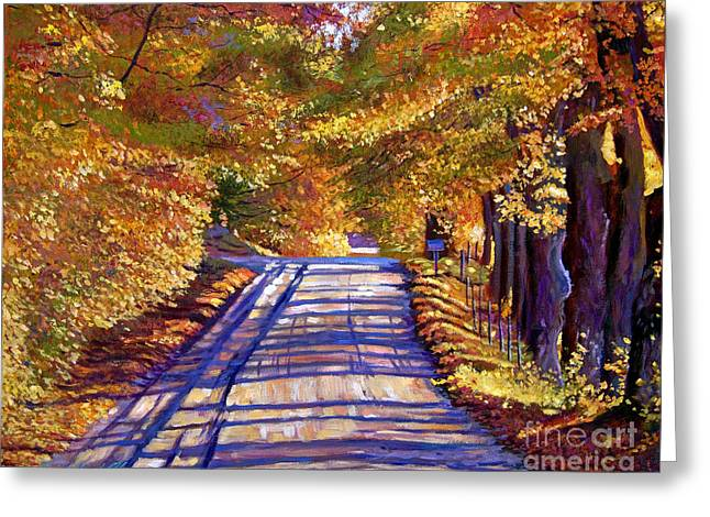 Fallen Leaf Paintings Greeting Cards - Country Road Greeting Card by David Lloyd Glover