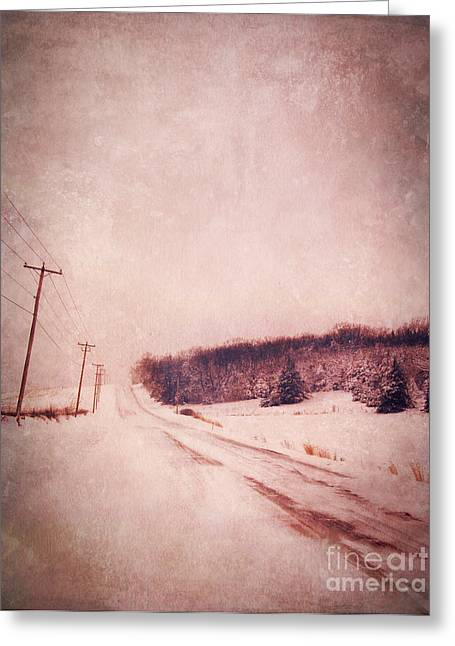 Winter Roads Greeting Cards - Country Road in Snow Greeting Card by Jill Battaglia