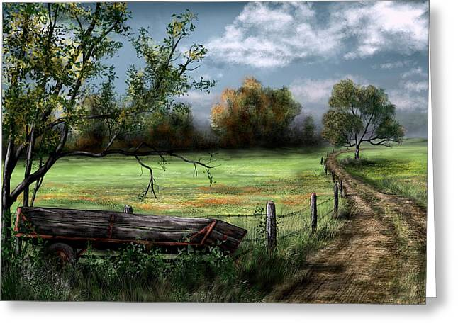 Old Fence Posts Paintings Greeting Cards - Country Road Greeting Card by Ron Grafe
