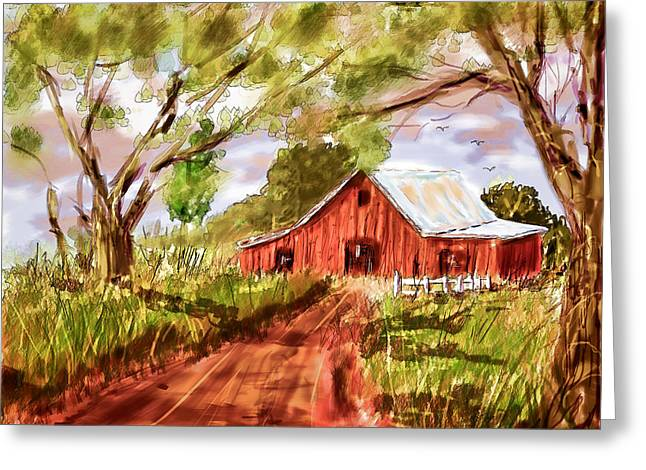 Country Dirt Roads Mixed Media Greeting Cards - Country Roads Greeting Card by Barry Jones