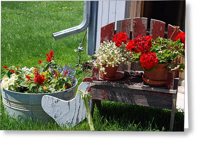 Red Geraniums Photographs Greeting Cards - Country Side Greeting Card by Susanne Van Hulst