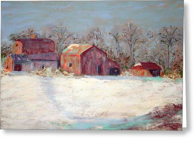 Rural Landscapes Pastels Greeting Cards - Country Snow Greeting Card by Mary Ellen Carver