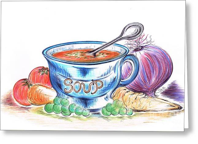 Manual Greeting Cards -  Countryside Harvest Soup Greeting Card by Teresa White