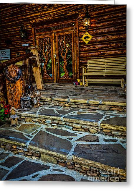 Log Cabins Greeting Cards - Country Store Greeting Card by Kathy Liebrum Bailey