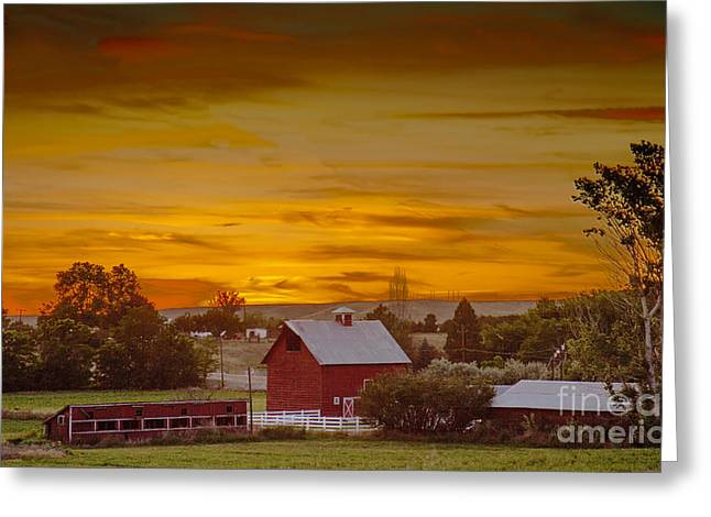 Old Structure Greeting Cards - Country Sunset Greeting Card by Robert Bales