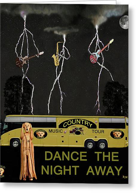 Tour Bus Mixed Media Greeting Cards - Country Tour dance the night away Greeting Card by Eric Kempson