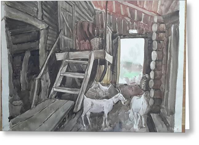 Barn Door Greeting Cards - Country yard Greeting Card by Sapognikova Irina