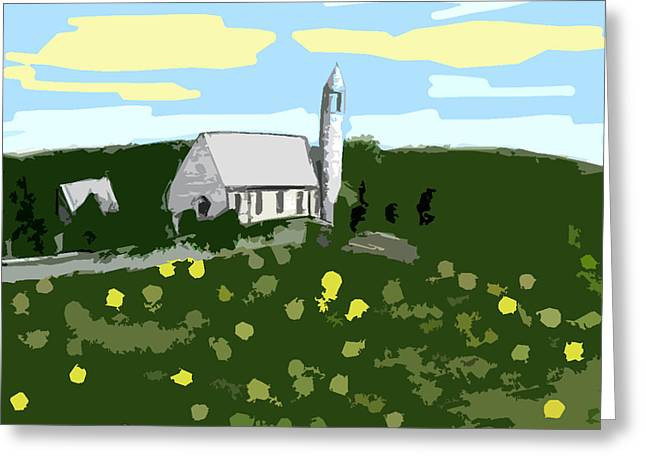 Abstractions Mixed Media Greeting Cards - Countryside Church Greeting Card by Patrick J Murphy