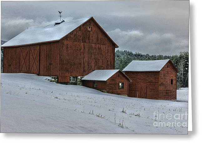 Countryside Scenic - Vintage Barns Of Berkshire County Greeting Card by Thomas Schoeller