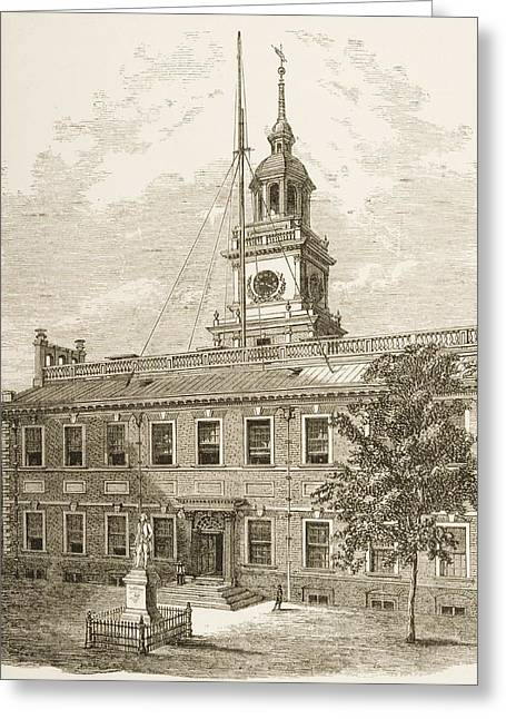 Philadelphia History Drawings Greeting Cards - County Court House Or Independence Greeting Card by Vintage Design Pics
