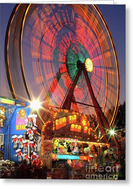 Photographers Ellipse Greeting Cards - County Fair Ferris Wheel 2 Greeting Card by Corky Willis Atlanta Photography