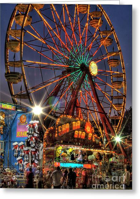 Photographers Duluth Greeting Cards - County Fair Ferris Wheel Greeting Card by Corky Willis Atlanta Photography