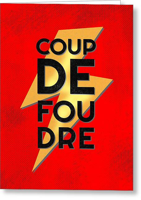 First Love Greeting Cards - Coup de Foudre - Retro Red Greeting Card by Antique Images