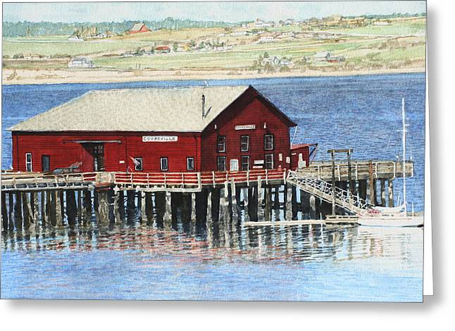 Penn Cove Greeting Cards - Coupeville Wharf Greeting Card by Perry Woodfin