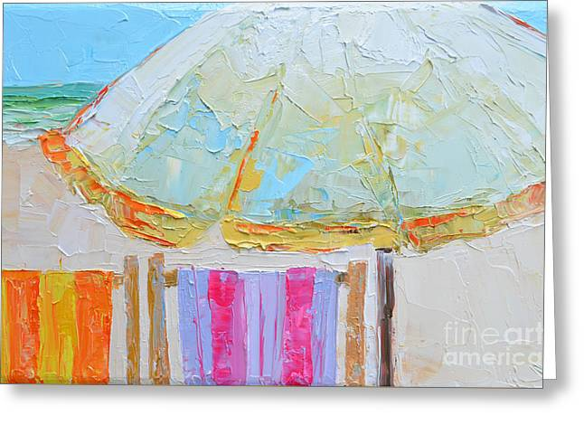 Beach Chairs Under White Umbrella - Modern Impressionist Knife Palette Oil Painting Greeting Card by Patricia Awapara