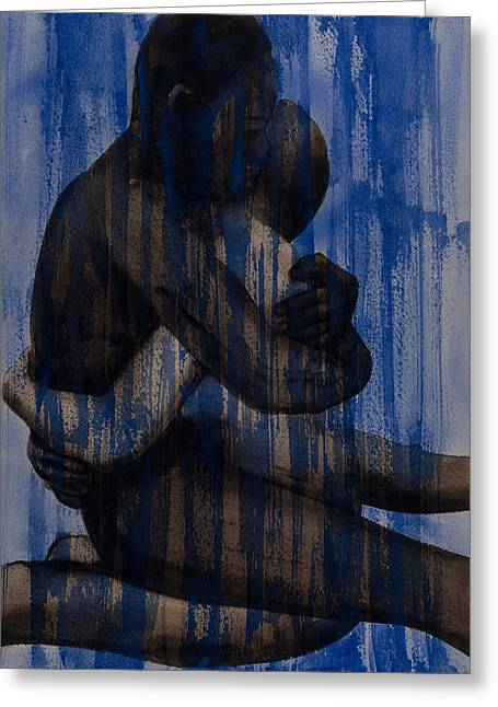 Couple   Blue Greeting Card by Graham Dean