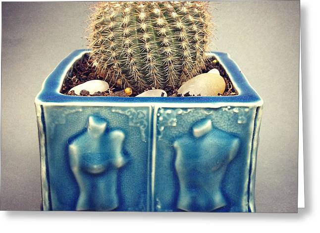 Couple Ceramics Greeting Cards - Couple Cactus Planter Greeting Card by Evelyn Taylor Designs