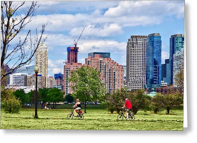 Bicycle Greeting Cards - Couple Cycling in Liberty State Park Greeting Card by Susan Savad