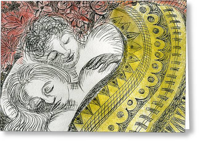 Drypoint Greeting Cards - Couple Dreaming Greeting Card by Sheryl Karas