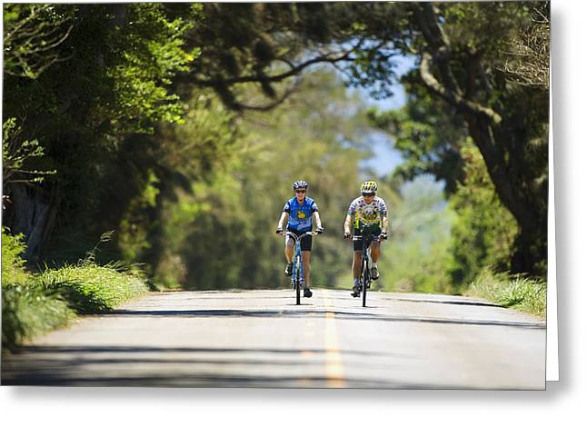Enjoying Greeting Cards - Couple enjoying a back road bike ride Greeting Card by Ron Dahlquist - Printscapes