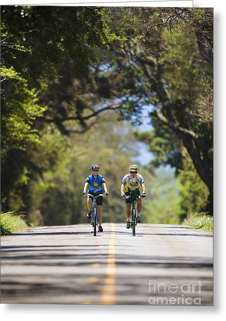 Streetlight Greeting Cards - Couple enjoying a bike ride Greeting Card by Ron Dahlquist - Printscapes