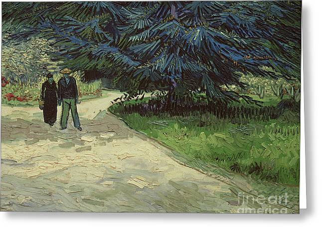 Arles Paintings Greeting Cards - Couple in the Park Greeting Card by Vincent Van Gogh