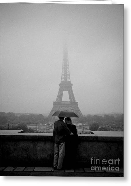 People Pyrography Greeting Cards - Couple in the rain Near Trocadero. Greeting Card by Cyril Jayant