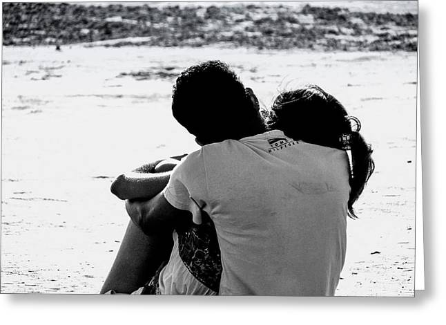 Couples Tapestries - Textiles Greeting Cards - Couple on Beach Greeting Card by James Hennis