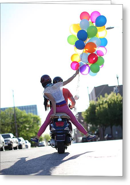Couple On Motorcycle With Balloons Greeting Card by Gillham Studios