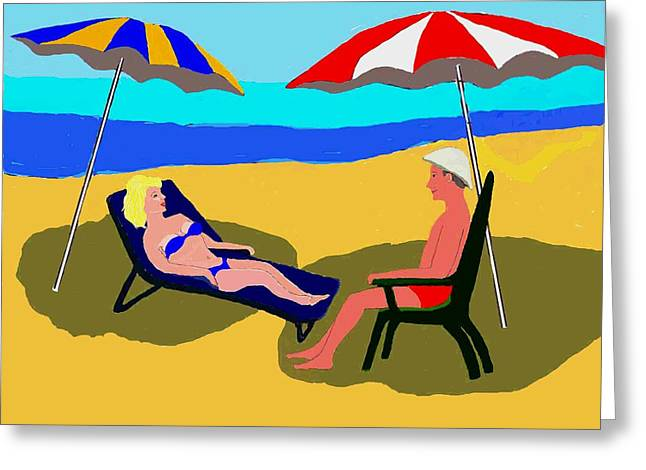 Party Hat Prints Greeting Cards - Couple on the Beach Greeting Card by Fred Jinkins