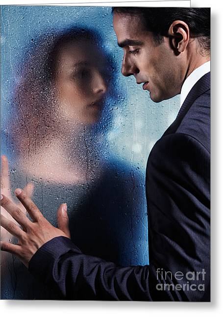 Pensive Greeting Cards - Couple separated by wet glass pane Greeting Card by Oleksiy Maksymenko