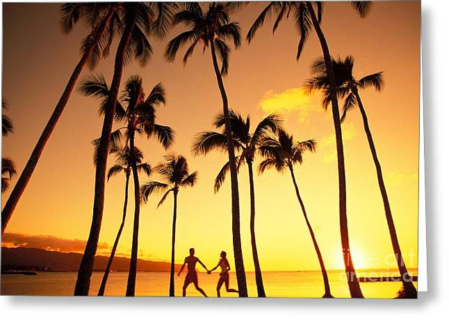 Athletic Love Greeting Cards - Couple Silhouette - Tropical Greeting Card by Dana Edmunds - Printscapes