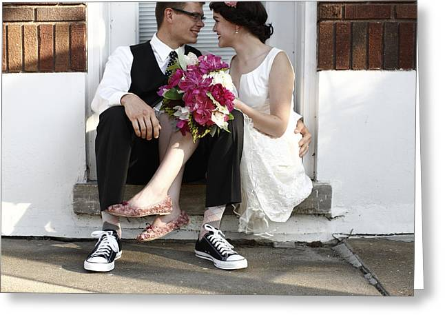 Playful Greeting Cards - Couple Sitting Closely After Wedding Greeting Card by Gillham Studios