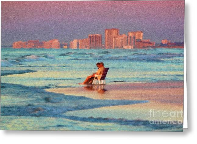 Couple Watching The Sunset Greeting Card by Jeff Breiman