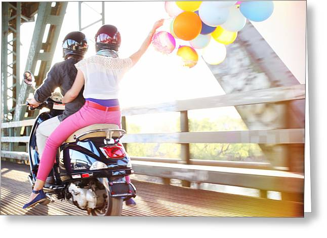 Playful Greeting Cards - Couple With Balloons Riding Motorcycle Greeting Card by Ink and Main