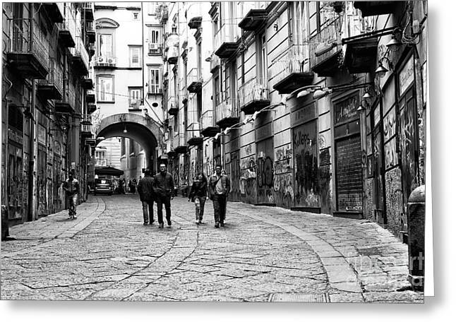 Old Street Greeting Cards - Couples in Naples Greeting Card by John Rizzuto