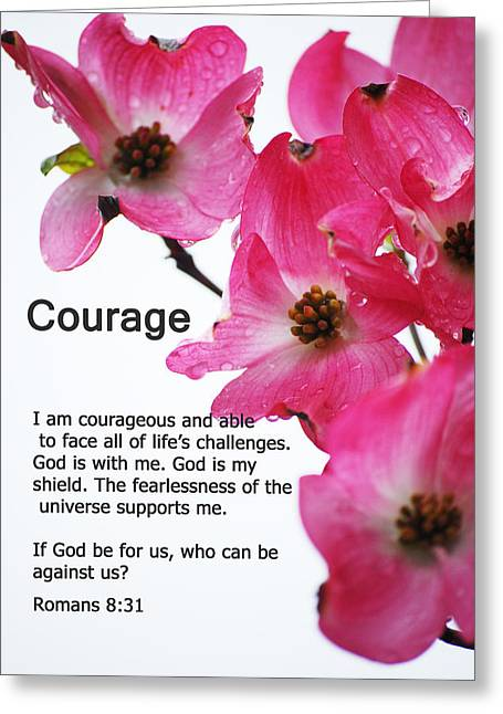 Courage Greeting Cards - Courage - Bible Quote Series Greeting Card by Michelle  BarlondSmith