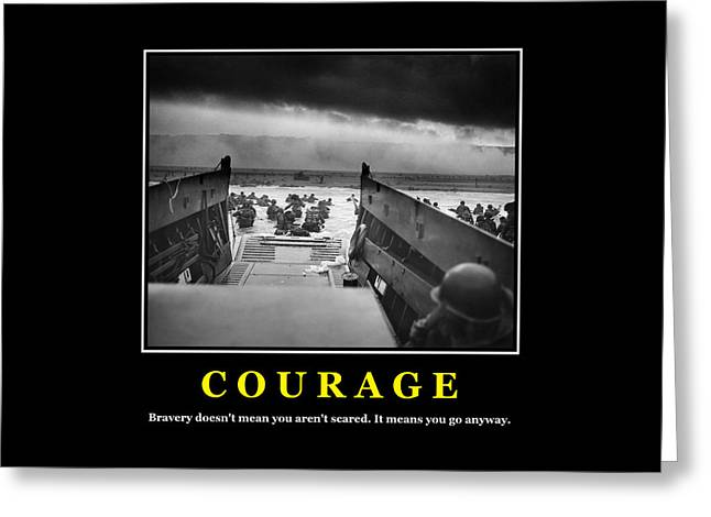 Courage -- D Day Poster Greeting Card by War Is Hell Store