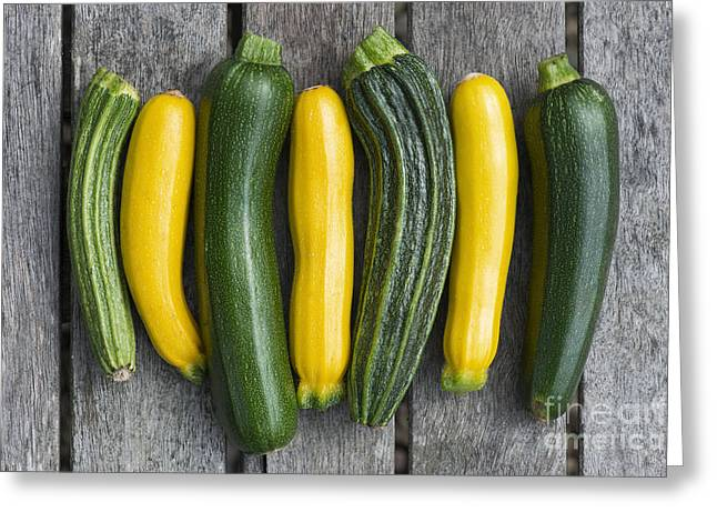 Home Grown Greeting Cards - Courgette Harvest Greeting Card by Tim Gainey