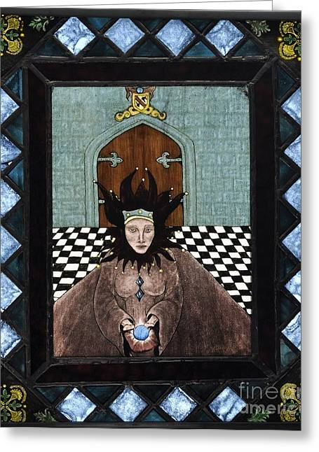 Gift Glass Greeting Cards - Court Jester Greeting Card by Valerie Lynn
