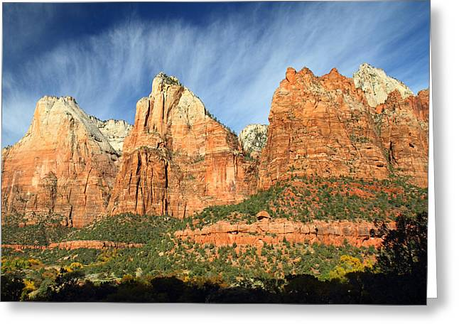 Back Country Greeting Cards - Court of the Patriarch in Zion Greeting Card by Pierre Leclerc Photography