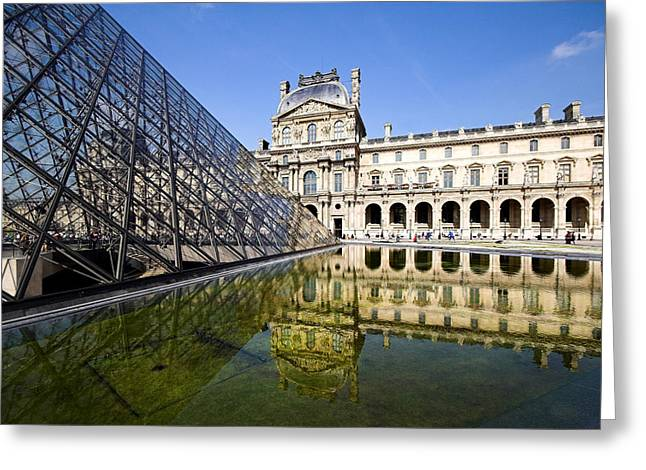Pyramids Photographs Greeting Cards - Court yard view of the pyramid at the Louvre museum Paris Greeting Card by Pierre Leclerc Photography
