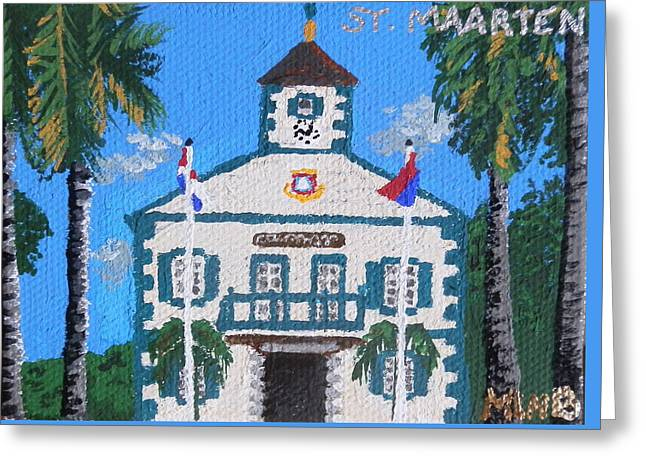 St Margaret Paintings Greeting Cards - Courthouse in Philipsburg Greeting Card by Margaret Brooks
