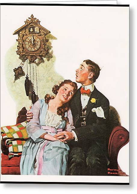 Courting Couple At Midnight Border Greeting Card by Norman Rockwell