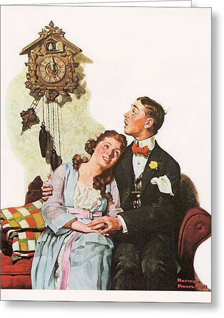 Courting Couple At Midnight Greeting Card by Norman Rockwell