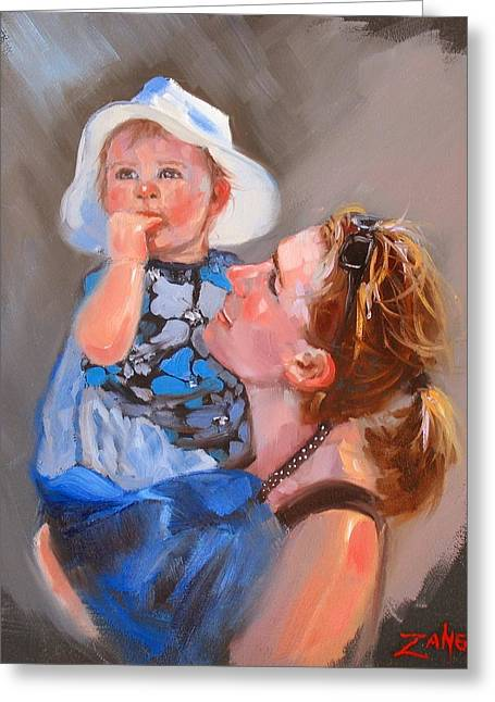Mothers And Daughters Greeting Cards - Courtneys Love Greeting Card by Laura Lee Zanghetti